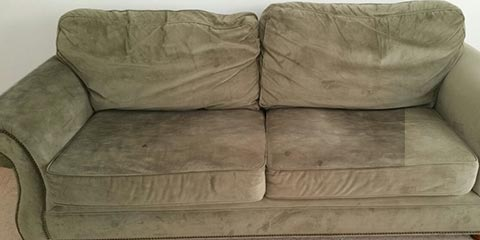 Dirty Suede Upholstered Sofa